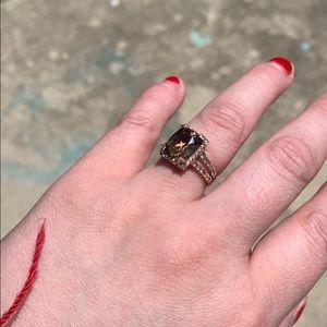 Levian Smokey quartz and diamond ring